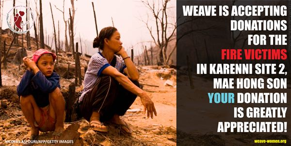 WEAVE is accepting donations for the fire victims in Karenni Site 2